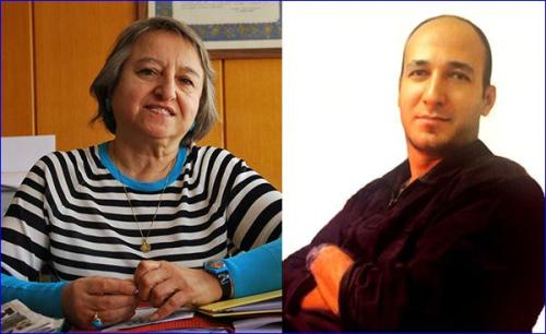 """Left: Canan Arin, a feminist lawyer arrested in Turkey for """"insulting religious values adopted by a part of the society"""" and """"insulting the President,"""" after she mentioned that the Muslim prophet Muhammad married a 7-year-old girl and the President of Turkey married his wife when she was 15 years old. Right: Mohsen Amir Aslani, an Iranian psychologist who was hanged in Iran for the crimes of """"heresy"""" and """"insulting prophet Jonah,"""" after he said that the biblical prophet Jonah could not have emerged from a whale's belly."""