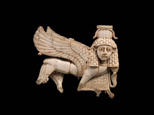 Ivory plaque with striding sphinx from Nimrud.  Photo: © The Metropolitan Museum of Art, New York.