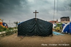 In an Ankawa tent camp, a makeshift chapel even emerged.