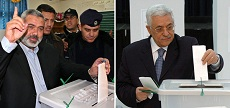 One man, one vote, one time? Hamas leader Ismail Haniyeh (left) and Fatah leader Mahmoud Abbas (also president of the Palestinian Authority) are pictured voting in the last election for the Palestinian Legislative Council, which took place in 2006.