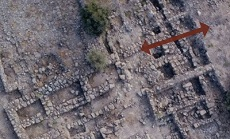 Aerial view of the Iron Age palace at Bethsaida. The red arrow indicates the path of a possible escape tunnel leading from the palace to the city wall. Photo: Courtesy Bethsaida Biblical Archaeology via Popular Archaeology.