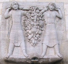 Dogs in the Bible were not well loved. Pictured is a stone relief depicting the Biblical spies Joshua and Caleb carrying a cluster of grapes back from the Promised Land (Numbers 13:1-33).